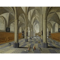 the interior of a cathedral with an elegant company being greeted by another gentleman by peeter neeffs the elder