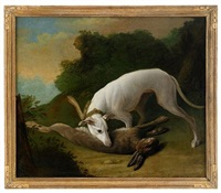 hunting dog with game by johann friedrich grooth