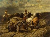 horse drawn wagon by adolf schreyer