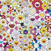 flowers blooming in this world and the land of nirvana by takashi murakami
