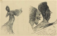untitled (dancer and two portraits in profile) by rabindranath tagore
