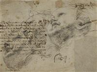 trois têtes de putti (study) (+ figures dans un écoinçon et lettre (study), verso) by giovanni lanfranco