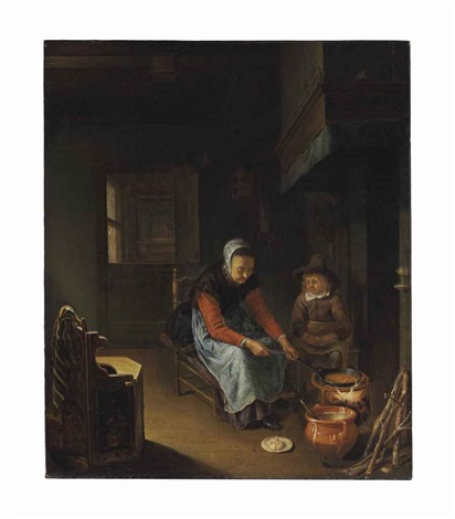 a woman cooking pancakes with a young boy before a hearth by pieter cornelisz van slingeland
