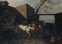 arrêt de cavaliers devant une fontaine by jan miel