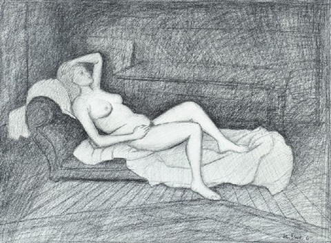 reclining nude on couch by john brack