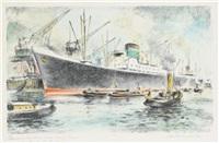 zementfrachter im hafen von bremerhaven (+ 2 others; 3 works) by willy haunschild