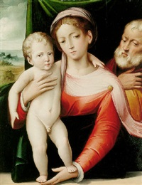 madonna and child with saint joseph by giacomo raibolini