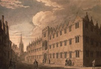 oriel college, oxford, with st. mary's church in the distance by thomas malton the younger