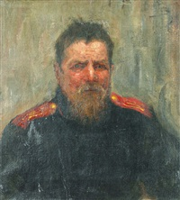 portrait of a soldier by yuri il'ich repin