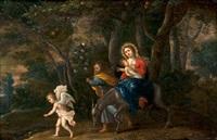 die heilige familie auf der flucht by peeter van avont