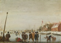 winter landscape with skaters and colfers on a frozen inlet by barent avercamp