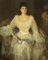 a lady in white (a portrait of lady lyle) by john lavery