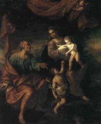 the holy family with the infant saint john the baptist by ercole lelli