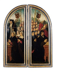 donors in prayer, accompanied by their family, saint irmengard (?) and saint denis (2 parts of a triptych) (+ christ in the garden of gethsemane, verso) by ambrosius benson