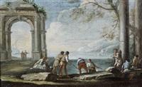 pêcheurs relevant leurs lignes devant des ruines antiques by andrea locatelli