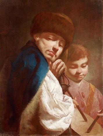 ein mann und ein knabe mit einer trommel unuomo e un ragazzo con tamburello by giuseppe angeli