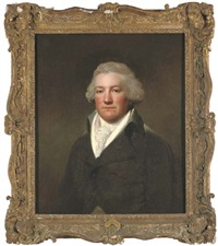 portrait of james hatch, of claybury hall, essex, half-length, in a brown coat and white cravat by lemuel francis abbott