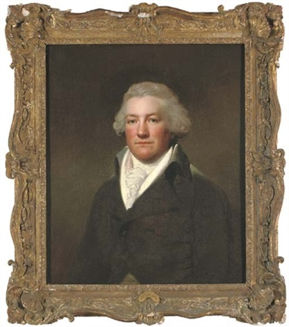 portrait of james hatch of claybury hall essex half length in a brown coat and white cravat by lemuel francis abbott