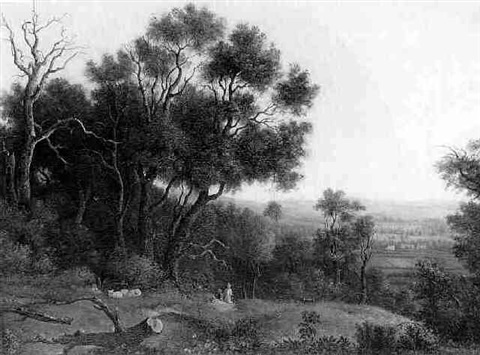 figures sheep and a dog in a wooded landscape by charlotte nasmyth