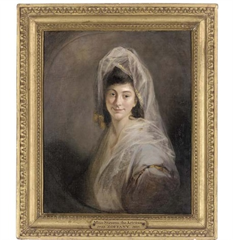 portrait of miss stevens with a white chiffon veil by johann joseph zoffany