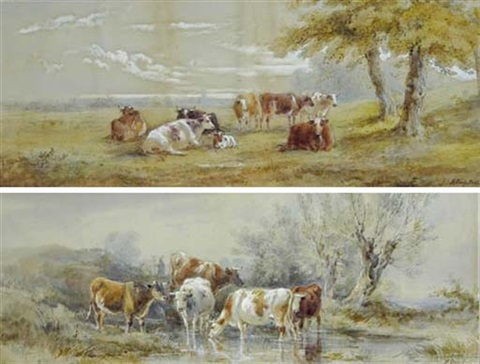 cows in a watering hole cows grazing in a field 2 works by henry earp