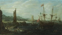 a coastal capriccio scene with numerous figures in the foreground by andries van eertvelt