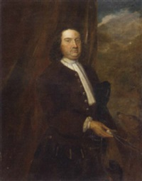 portrait of a gentleman in a brown coat and white stock, a tricorn under his arm, a dog by his side by john theodore heins sr.