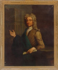 portrait of mr. buxton in a brown coat and blue cloak, holding a scroll, pointing to a building by john theodore heins sr.