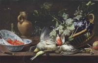 a partridge, snipe, sparrow, finch, and other birds by frans snyders