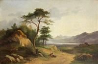 paysans dans un paysage by nicolas-victor fonville