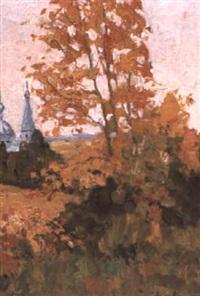 arbre mordore en automne by eugene markov