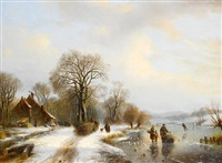 winter landscape with figures by willem vester