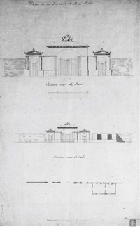 design for an entrance to hyde park: elevations next to the road and next to the park, with plan (+ elevations and plans of the gate's and lodge, verso) by john soane