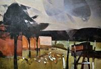 paisaje con gallinas by teresio fara