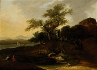 figures in a wide landscape with hills by jan asselijn