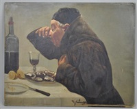 a monk with oysters and wine by michele falanga