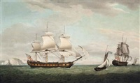 the east indiaman pitt of london in two positions in the channel off the needles, isle of wight by thomas whitcombe