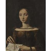 a young lady holding a compass by pietro paolini