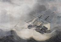 zeilschepen voor de kust op ruwe zee by jan hendrik boshamer