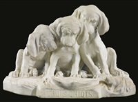 trois chiots (three puppies) by georges lucien vacossin