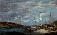 douarnenez, bateaux de pêche à quai by eugène boudin