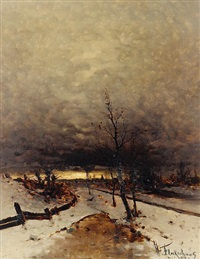 winter landscape by heinz flockenhaus