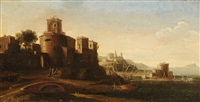 an italian landscape with a fishing port by hendrick frans van lint