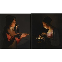 a young boy with a pipe, blowing on a firebrand (+ a young girl blowing on a brazier, various sizes; pair) by georges de latour