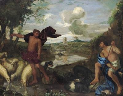 paesaggio arcadico bucolico con due figure di pastori arkadische landschaft mit zwei hirten by andrea di leone