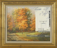 autumn country road with building (chatham, massachusetts?) by h. latham kent