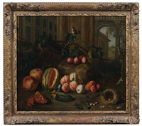 nature morte de fruits, légumes et oiseaux sur fond d'architecture by peter (petrus) snyers