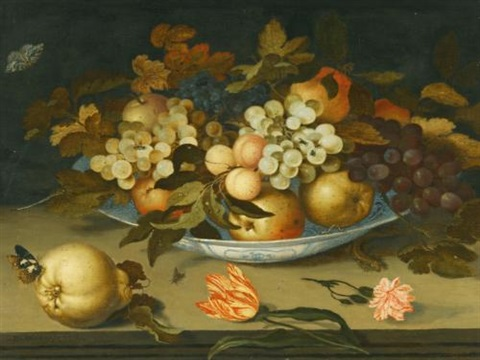 a still life with a delft bowl containing fruit on a ledge with flowers insects and a lizard by balthasar van der ast
