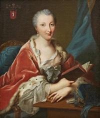 porträtt föreställande anna friederike von kameke (1715-1788) läsande bok by johann heinrich tischbein the elder