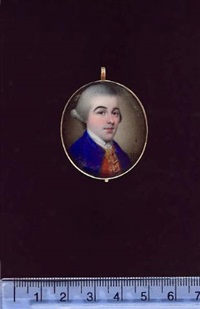 a gentleman wearing blue coat, gold edged red waistcoat, white cravat and powdered wig by henry spicer